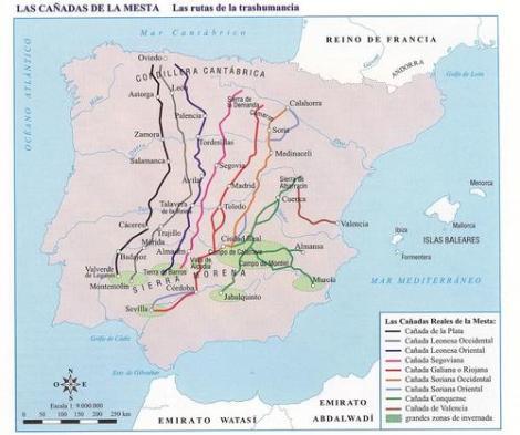 Mapa de las cañadas reales en los reinos cristianos