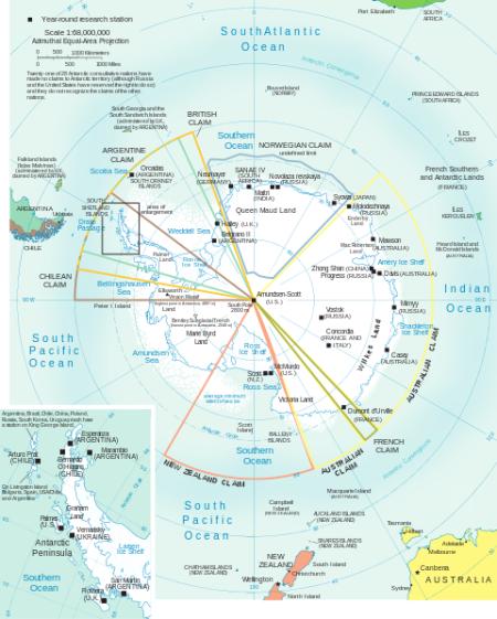 "Antarctica, mapa ""político""."