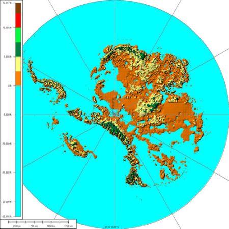 Mapa fisico de la Antartida sin hielo.