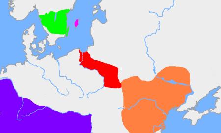 En verde, zona de origen godos.
