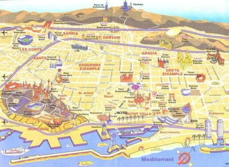 Mapa de atracciones turísticas de Barcelona