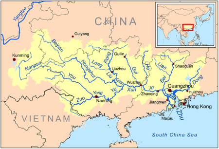 Zhujiang river map