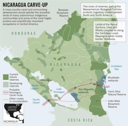 El trazado propuesto para el proyecto del Canal de Nicaragua.