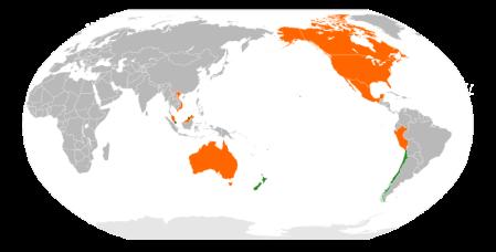 Países miembors o  negociando la entrada en el acuerdo TPP. ¿ No falta Japón ?