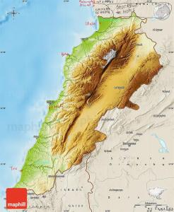 Physical map of Lebanon, shaded relief outside.