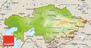 Physical map of Kazakhstan, shaded relief outside.