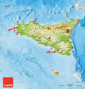 Physical map of Sicilia, political outside.