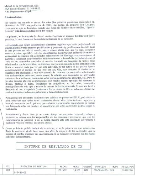 Ignacio Reneses. Carta enviada a Google por FAX 1.