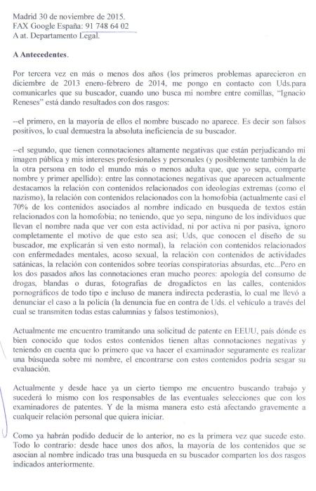Ignacio Reneses. Carta enviada a Google por FAX 2.