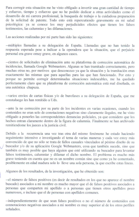 Ignacio Reneses. Carta enviada a Google por FAX 3.