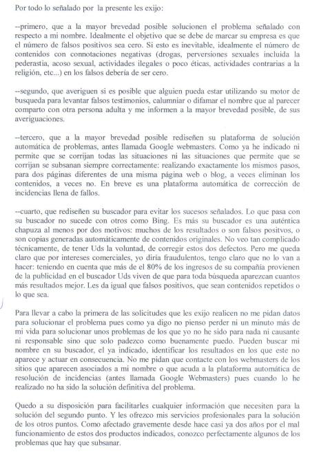 Ignacio Reneses. Carta enviada a Google por FAX 4.
