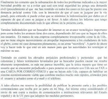 Ignacio Reneses. Carta enviada a Google por FAX 5.