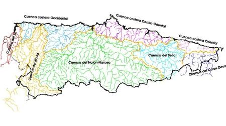 Asturias, cuencas hidrográficas.