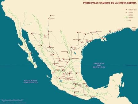 Principales caminos de la Nueva España.
