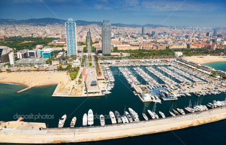 aerial view of Port Olimpic from helicopter. Barcelona, Spain